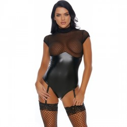 SULTRY VIXEN TEDDY WITH GARTER STRAPS NEGRO