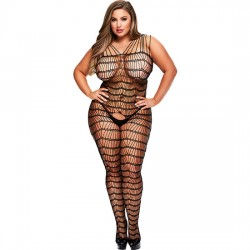 CRISS CROSS CROTCHLESS BODYSTOCKING DISENO ONDULADO