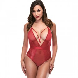 STRAPPY TEDDY WITH DEEP V BODY V ROJO