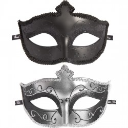 MASKS ON MASQUERADE PACK DE 2 UDS NEGRO PLATA