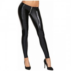 VALERA WETLOOK ZIPPER LEGGINS NEGRO